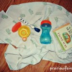 Photo of baby blanket, baby bottle and baby book.