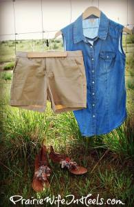 chambray top and tan shorts