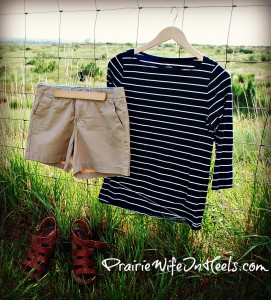 Tan Shorts and Nautical Top