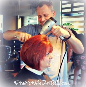 David styling hair