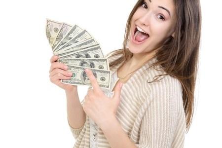 happy girl with money