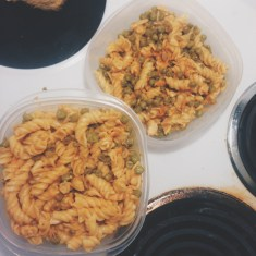 cooked rotini with fish & peas
