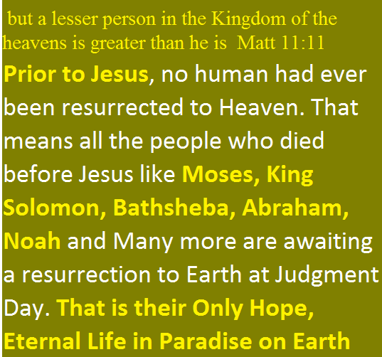 Prior to Jesus, no human had ever been resurrected to Heaven. That means all the people who died before Jesus like Moses, King Solomon, Bathsheba, Abraham, Noah and Many more are awaiting a resurrection to Earth at Judgment Day. That is their Only Hope, Eternal Life in Paradise on Earth