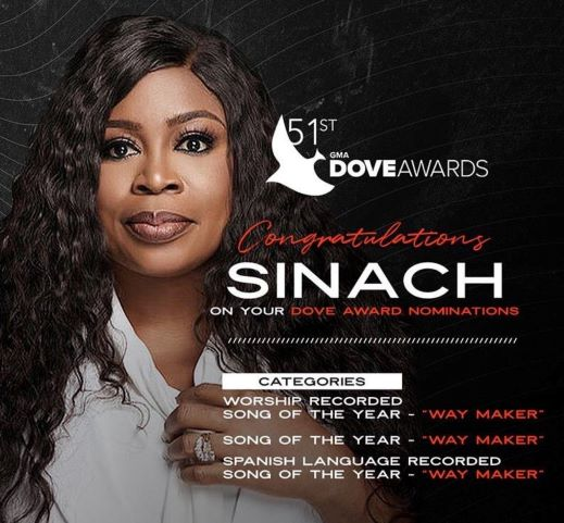 SINACH TO PERFORM AT THE 51ST ANNUAL GMA-DOVE-AWARDS    Praizenation.com
