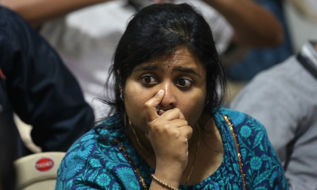 An ISRO employee reacts after the communication and data were lost from the Vikram Lander. Photograph: Jagadeesh Nv/EPA