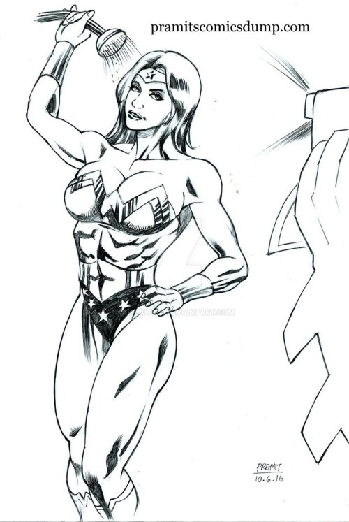 Wonder Woman in shower by Pramit