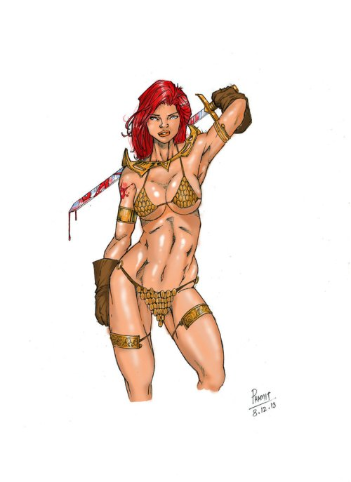 Red Sonja colored by Pramit