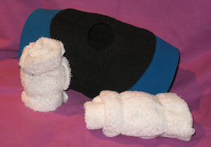 Photo of knee support and rolled hand towels