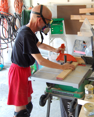 Photo: Richard Smith working with his power tools