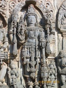 Photo: wall carving of Hindu god Vishnu