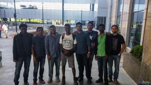 screen left to right, Pradeep, ?, Naren, Me, Chatrasal, Johny, Durai and Mridul