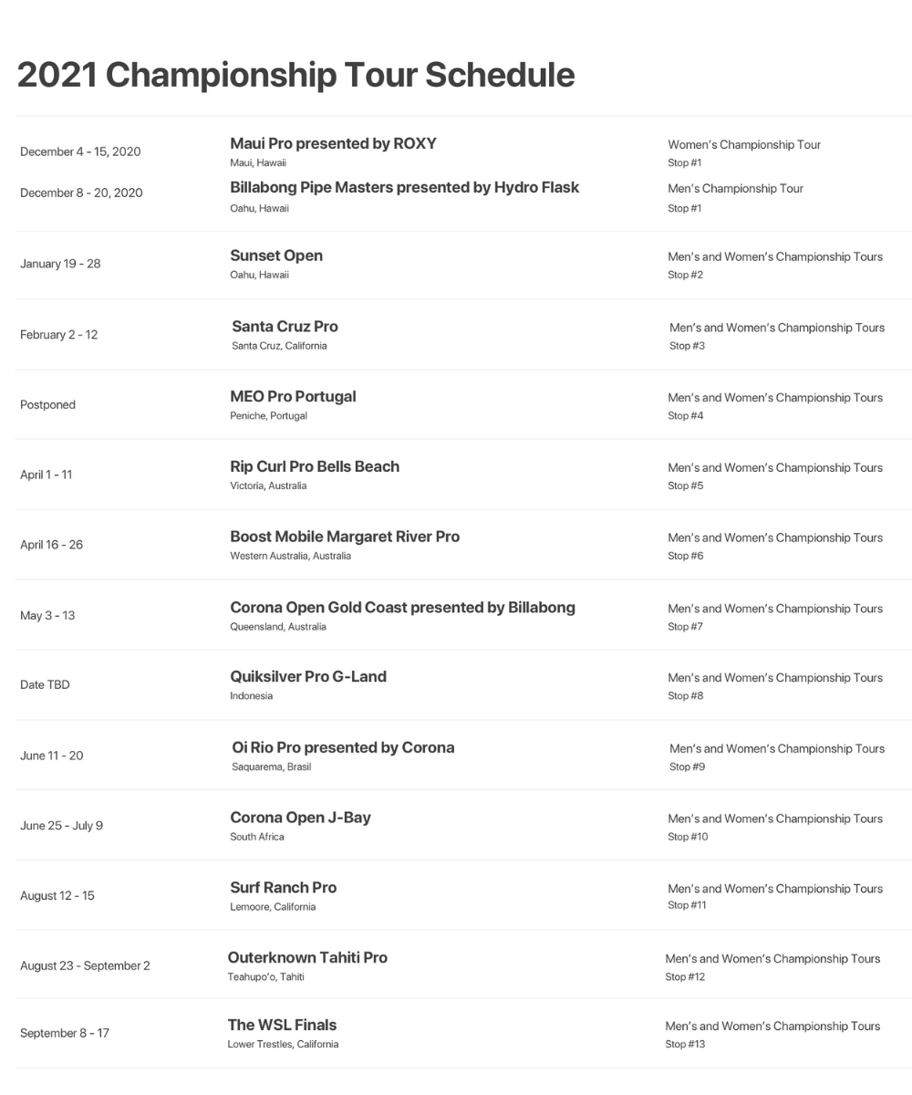 WSL calendário 2021