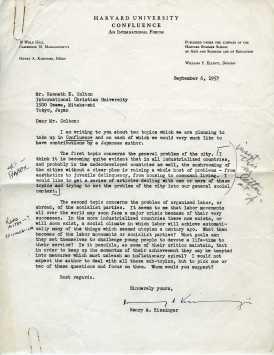 ヘンリー・キッシンジャーからコルトンへの手紙