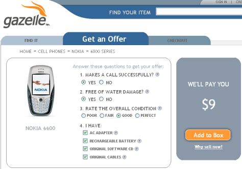 Gazelle will pay me $9 for Nokia 6600
