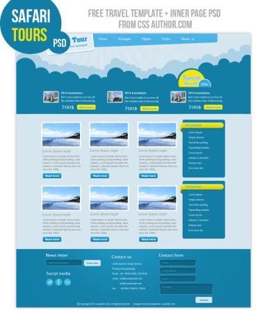 Premium Travel Web design Template PSD for free