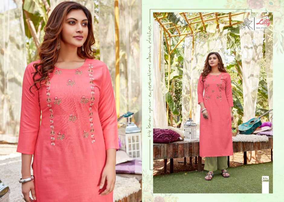 lilly style of india rayon designer kurtis collection surat