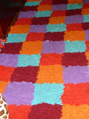 Diane's rug made of old fleeces. It took her three months.