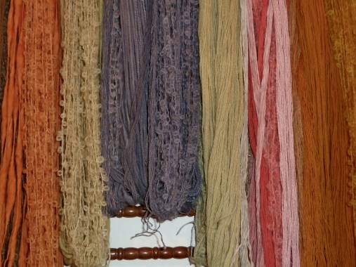 Carole Thorpe's natural dyed wool. I bought several small balls of pinkish wool coloured with madder and hope to knit a scarf.