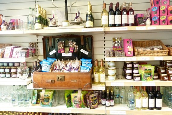 English wines from Brightwell cum Sotwell, English jams, chocolates and biscuits