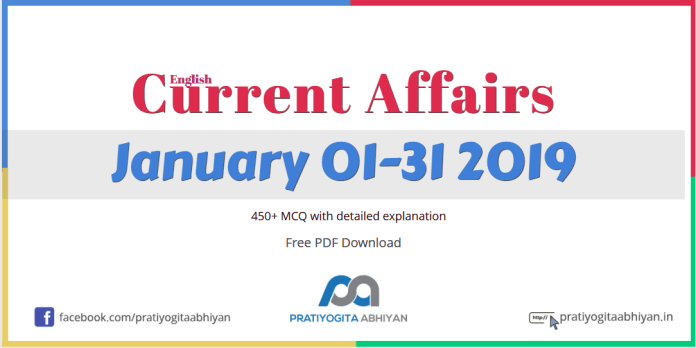 Current Affairs PDF Download: January 2019