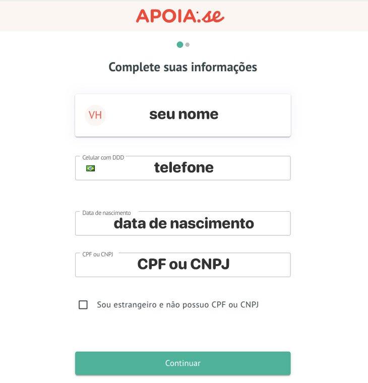 Tela do Apoia.se para preencher os dados pessoais
