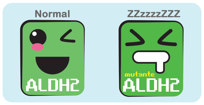 ALDH2: Normal vs. Mutante por PratoFundo.com