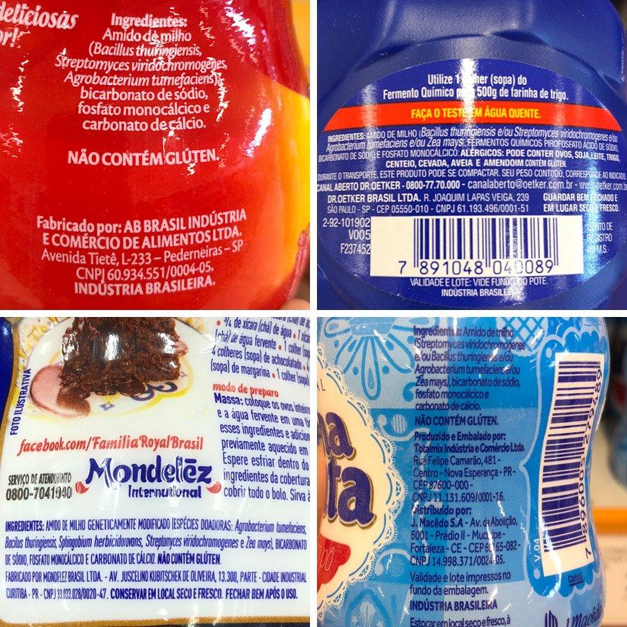 Imagem com quatro tipos de fermentos listando os ingredientes