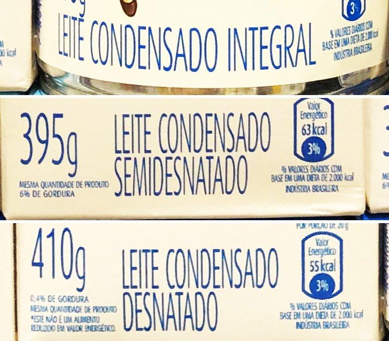 Comparativo de embalagens com os tipos de leite condensado