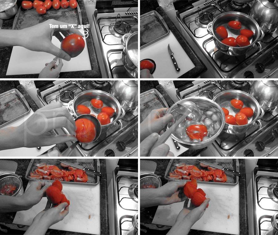 Passo a passo do tomate com a retirada da casca