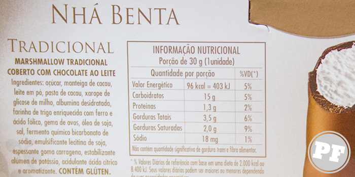 Nhá Benta: Ingredientes e tabela nutricional