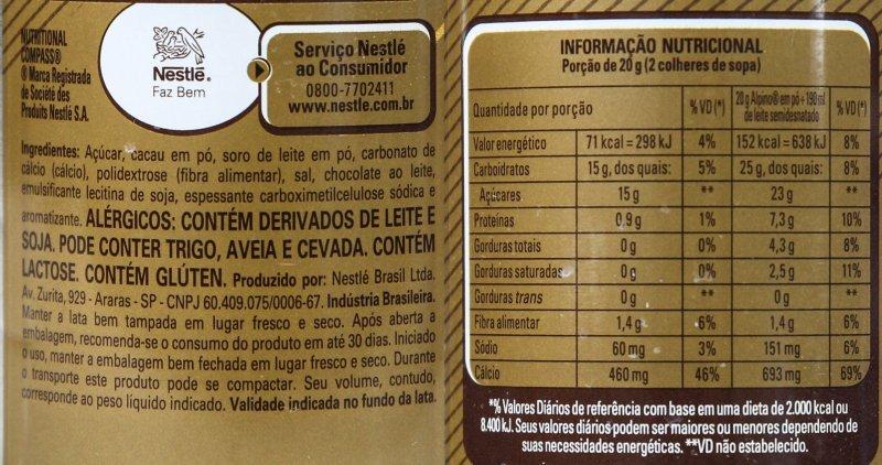 Imagem da listagem de ingredientes e tabela nutricional do Achocolatado Alpino Nestlé