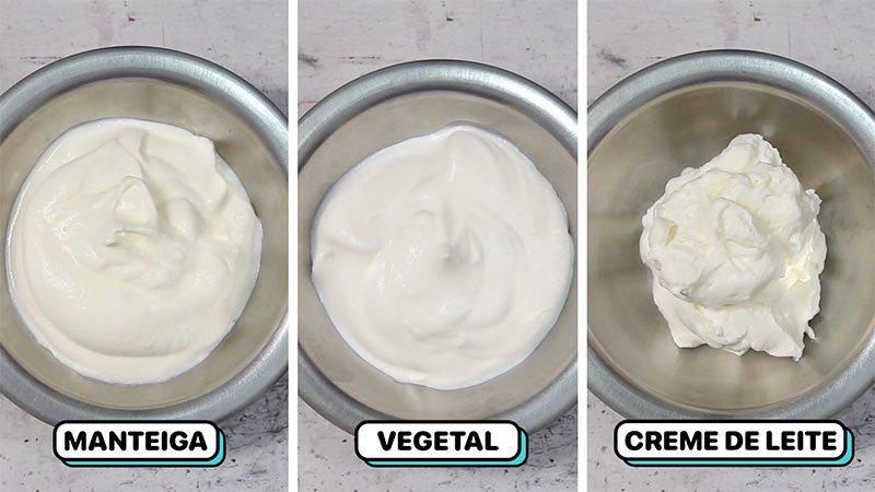 Três tigelas com chantilly de versões diferentes: de manteiga, de gordura vegetal e creme de leite