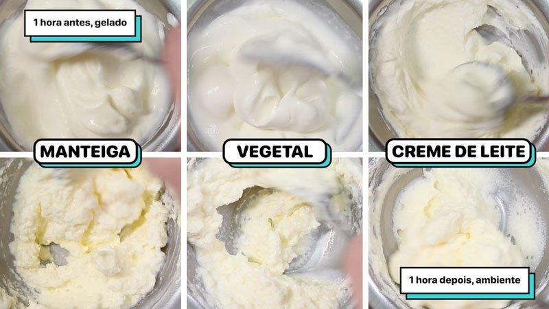 Quadro com seis imagens comparando a estabilidade depois de uma hora hora da geladeira: não são estáveis.