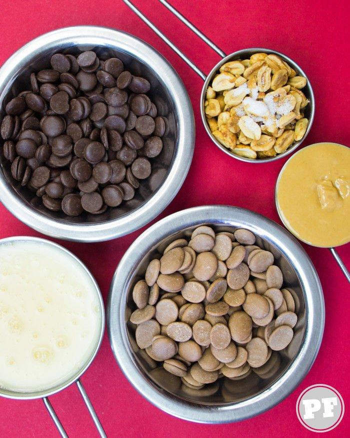 Ingredientes do Fudge de Chocolate e Pasta de Amendoim