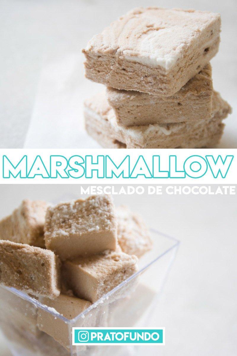 Marshmallow mesclado de chocolate em duas fotos com texto sobre