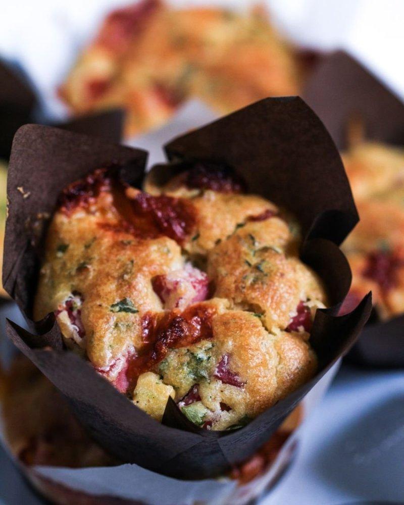Muffin de Presunto e Queijo visto de perto