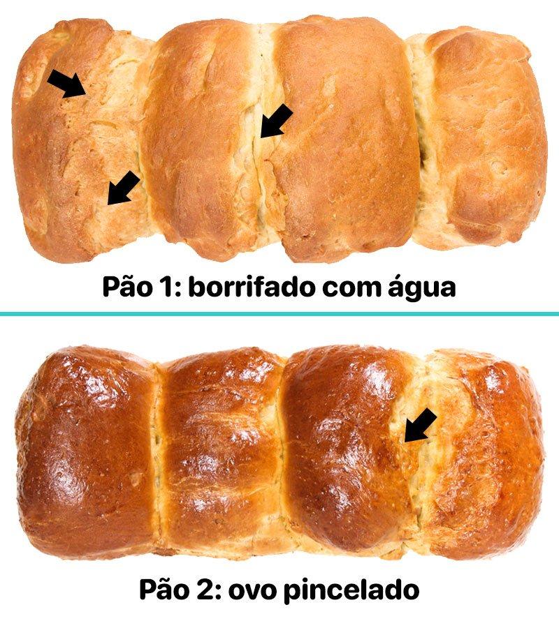Comparativo entre pão borrifado com água e pincelado com ovo