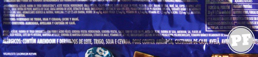 Lista de ingredientes do Bis tradicional
