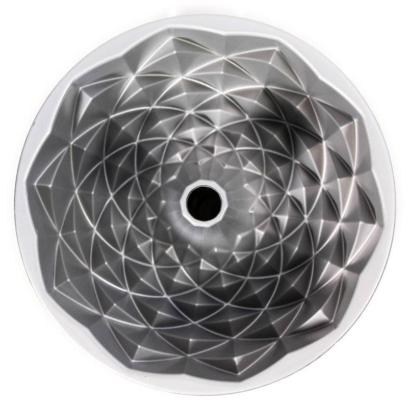 Forma Nordic Ware Jubilee mostrando os detalhe quadriculados internos