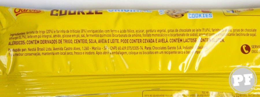 Lista de ingredientes do Garoto Cookie Original