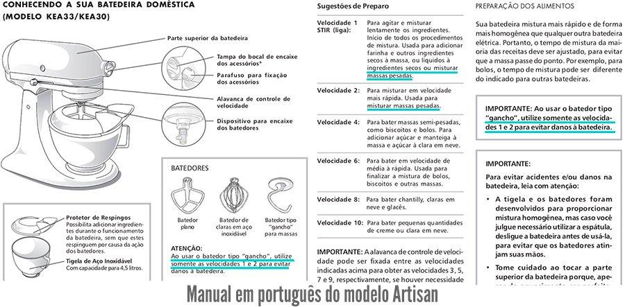 Imagem esquemática do manual em português da batedeira KitchenAid indicando quando usar os diferentes tipos de batedores