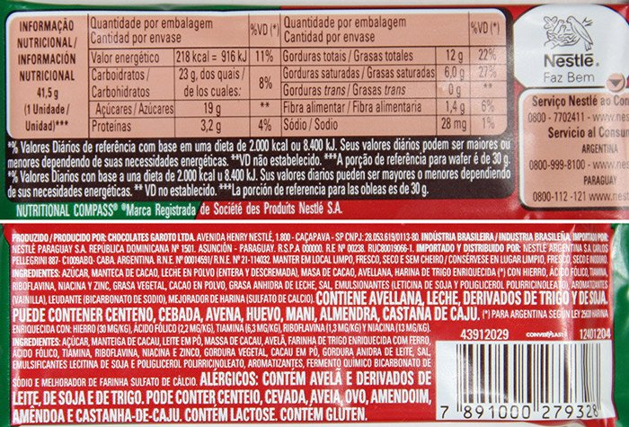 Tabela nutricional e listagem de ingredientes do Kit Kat Avelã (Hazelnut)