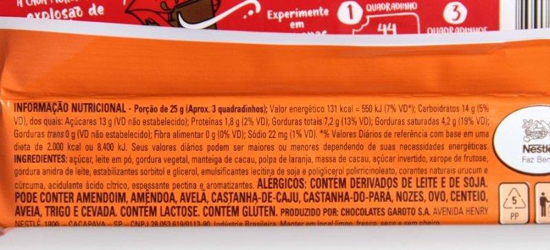Nestlé Mio Laranja: lista de ingredientes e valores nutricionais