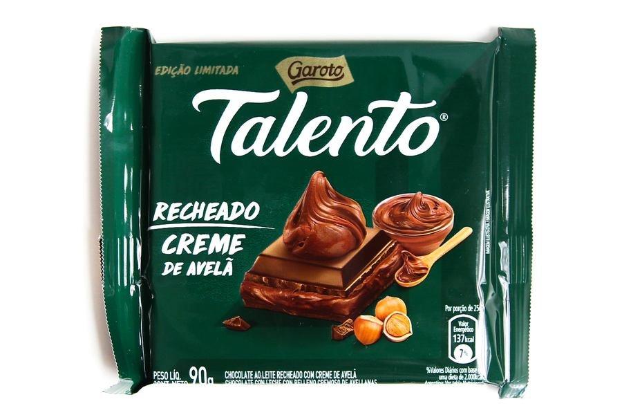 Embalagem do Talento Garoto Recheado Creme de Avelã