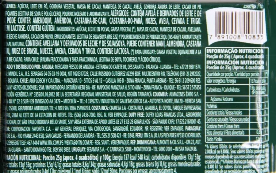 Listagem dos ingredientes e tabela nutricional do Talento Garoto Recheado Creme de Avelã