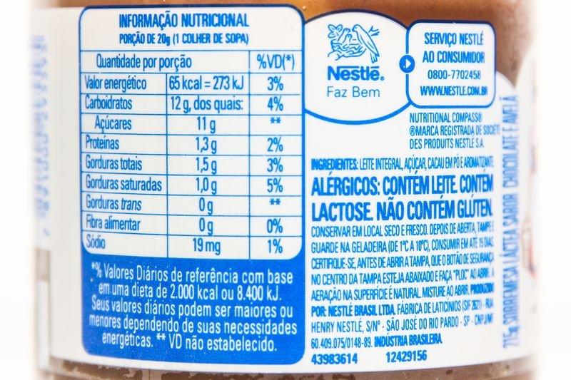 Tabela nutricional e lista de ingredientes do Moça de Passar de avelã