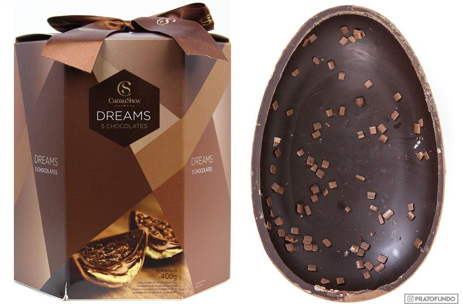 Foto da Embalagem e ovo Cacau show Dreams 5 chocolate