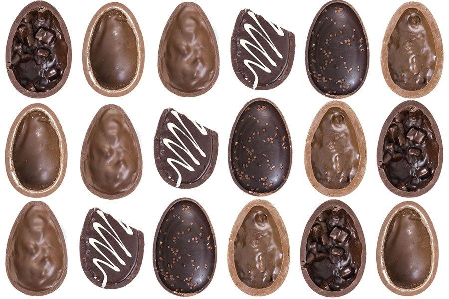 Ovos de chocolate lado a lado