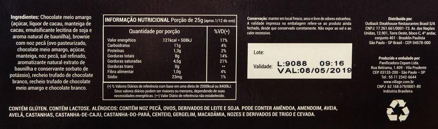 Ingredientes e tabela nutricional do ovo chokkie do outback