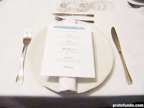PF dinner: Menu